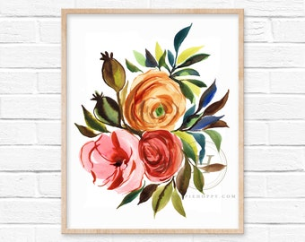 Colorful Flower Bouquet Watercolor Print Floral Art