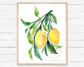 Lemon Watercolor Painting Citrus Modern Minimalist Kitchen Wall Art Prints