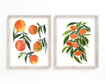 Tangerine and Orange Watercolor Prints