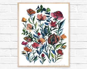 Abstract Floral Watercolor Print Modern Art by HippieHoppy