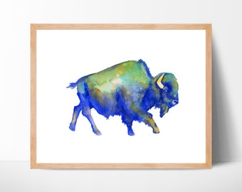 Watercolor Buffalo Bison Watercolor Print Boho Decor Watercolor Animal Print Buffalo Print Buffalo Art Buffalo Painting Bohemian