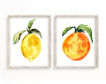Abstract Fruit Watercolor Art Set of 2 Prints
