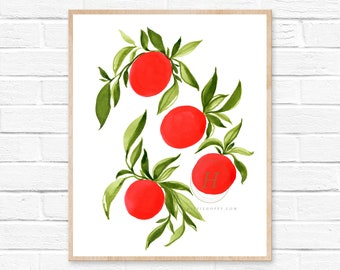 Bright Orange Fruit Kitchen Art Print
