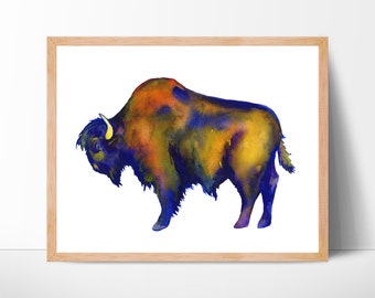 buffalo buffalo watercolor buffalo print watercolor buffalo art buffalo painting bison buffalo wall art painting bison print art home decor