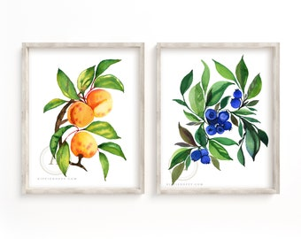 Blueberry and Apricot Prints, Watercolor Wall Art, Kitchen Art