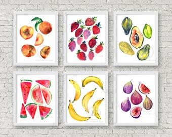 Fruit Watercolor Print Set of 6, Peaches, Strawberries, Papaya, Watermelon, Banana, Figs, Watercolor Paintings