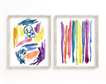 Abstract Watercolor Prints set of 2