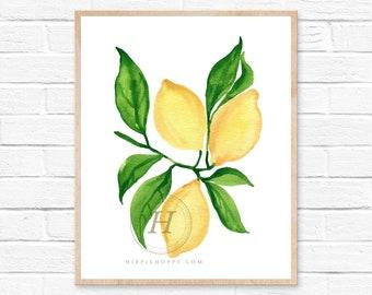 Lemon print, Watercolor lemon art, Kitchen decor