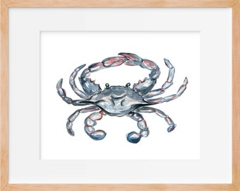Blue Crab 103 Print, Crab Art, Watercolor Crab Print, Beach House Decor, Nautical Decor, Crab Decor, Nautical Wall Art, Coastal Wall Art
