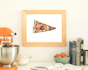 Pizza Print No.1, Pizza Art, Pepperoni Pizza Print, Food Illustration, Archival Print, Watercolor, Pepperoni, Red, Kitchen, Food Art, Pizza