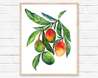 Large Mango Watercolor Print