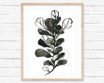 Fiddle Leaf Fig Watercolor Print Wall Art