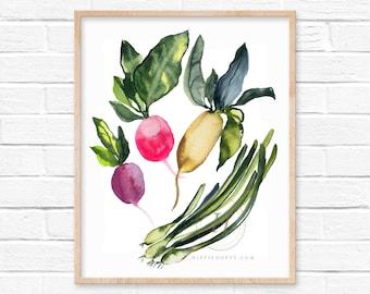 Large Radish and Onion Watercolor Print