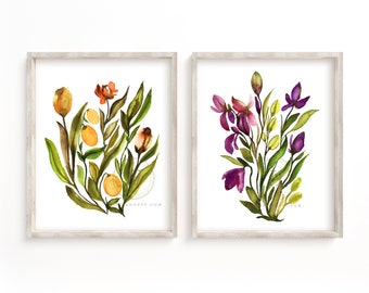 Flowers Watercolor Prints set of 2