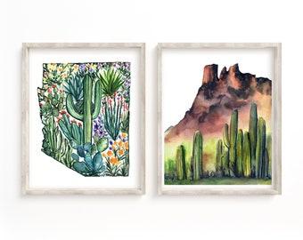 Arizona State Prints Watercolor Set of 2 Desert Wall Art Decor
