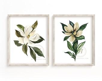 Large Magnolia Set of 2 Watercolor Prints