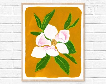 magnolia watercolor magnolia painting magnolia watercolor painting watercolor watercolor print magnolia print flower watercolor painting art