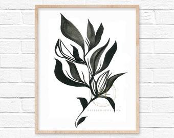 Large Black Leaf Watercolor Print