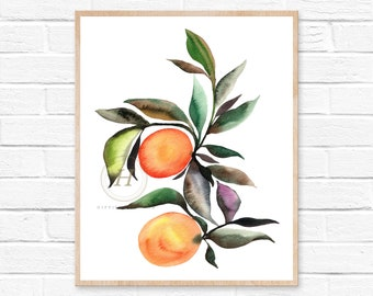 Orange Print, Large Watercolor Print, Fruit Art