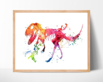 Dinosaur Watercolor Print