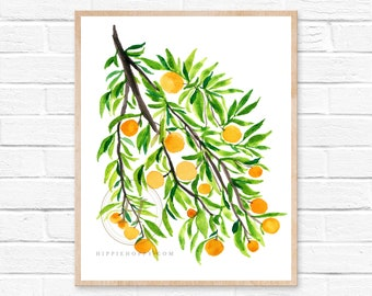 Oranges Art Prints - Orange Wall Art - Fruit Wall Art - Watercolor Orange Prints - Modern Kitchen Art