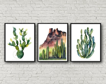 Cactus Print Set of 3 , Watercolor Arizona Desert