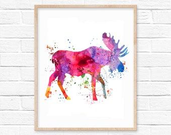 Moose Watercolor Print Colorful Wall Art