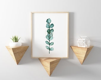 Eucalyptus Watercolor Wall Art Print
