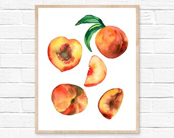 Peachs Watercolor Print