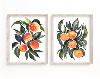 Apricot and Oranges Print Set of 2 Watercolor Fruit Wall Art