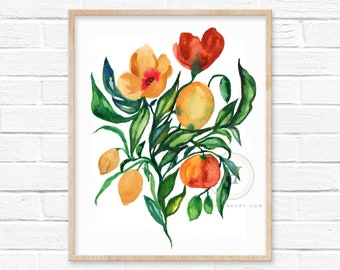 Flowers and Fruit Arrangement Watercolor Print