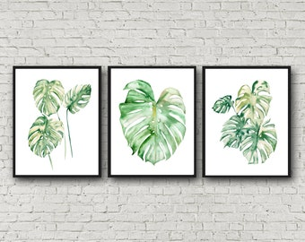 Monstera Print, Tropical Leaf Print, Monstera Leaf Print, Monstera Print, Monstera Plant Wall Art, Art