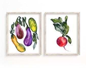 Radish and Vegetables Kitchen Wall Art set of 2