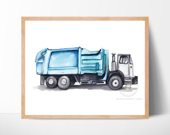 Trash Truck Watercolor Print Garbage Truck Art