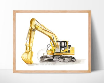 Excavator Print, Watercolor art, Home decor