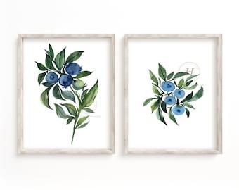 Blueberries Art Print Set of 2