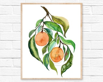 Oranges Citrus Watercolor Print