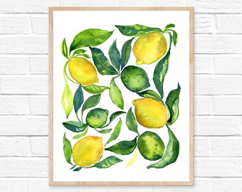 lemon watercolor lemon print lemon painting lemon art lemon lime watercolor lime watercolor painting kitchen decor fruit watercolor citrus
