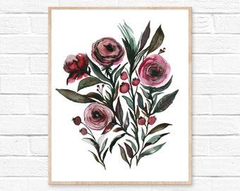 Floral Print, Watercolor Bouquet Print, Flower Botanical Illustration, Floral Watercolor Print, Botanical Home Décor, Flower Art Print