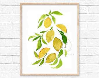 Yellow Lemons Watercolor Print by HippieHoppy