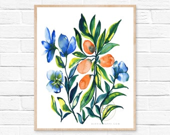 Flowers and Kumquats Print