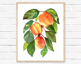 peach watercolor peach print peach art print fruit print  watercolor peach kitchen decor peach watercolour georgia peach kitchen wall art