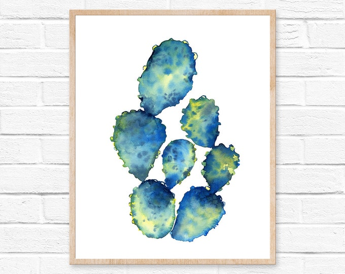 Featured listing image: watercolor print cactus art print botanical cactus decor original art rustic decor abstract art succulent art succulent print cactus print