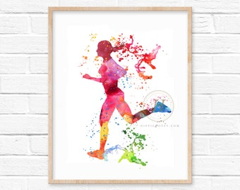 Runner Watercolor Print - Track Runner Art Print - Abstract Watercolor Painting - Wall Decor