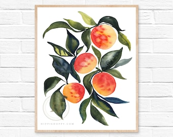 Large Apricot Watercolor Print Kitchen Wall Art