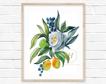 Flower and Fruit Watercolor Print Floral Art