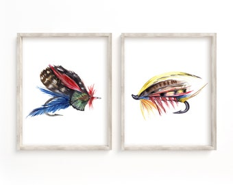 Fly Fishing Hooks Watercolor Prints Set of 2 Gifts