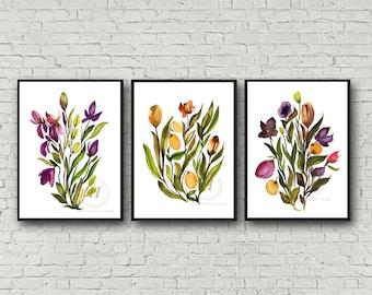 Flower Watercolor Art Prints set of 3 by HippieHoppy