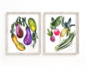 Large Vegetable Plants Watercolor Art Prints set of 2