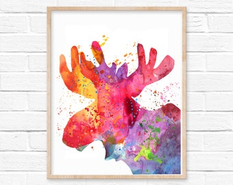 Moose Watercolor Painting Print